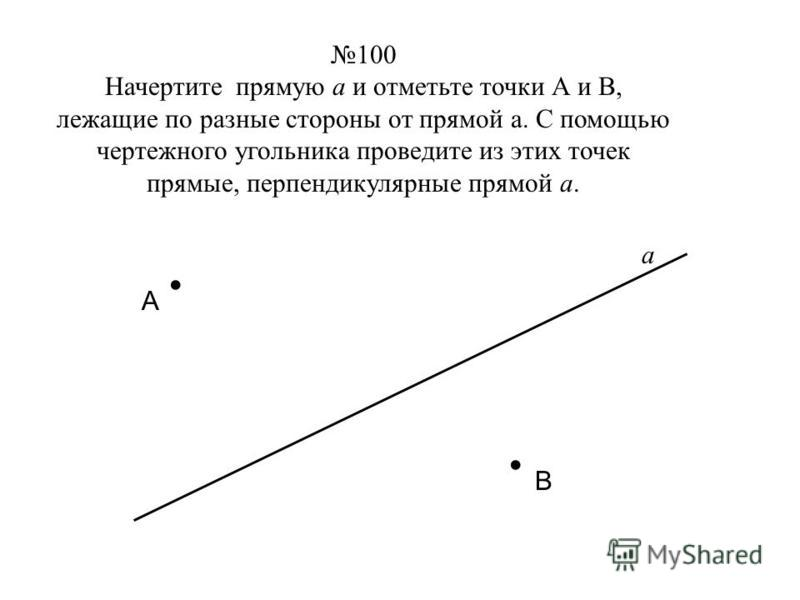 100 Начертите прямую а и отметьте точки А и В, лежащие по разные стороны от прямой а. С помощью чертежного угольника проведите из этих точек прямые, перпендикулярные прямой а... А В а