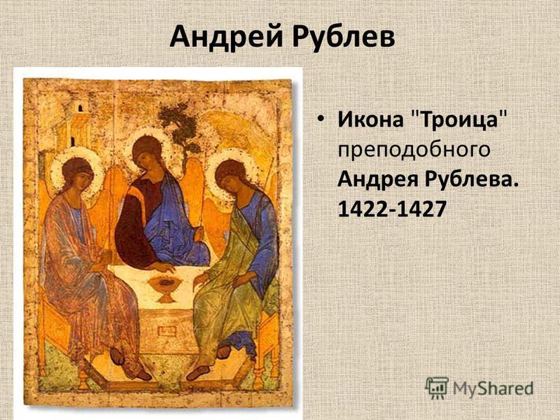 Андрей Рублев Икона Троица преподобного Андрея Рублева. 1422-1427