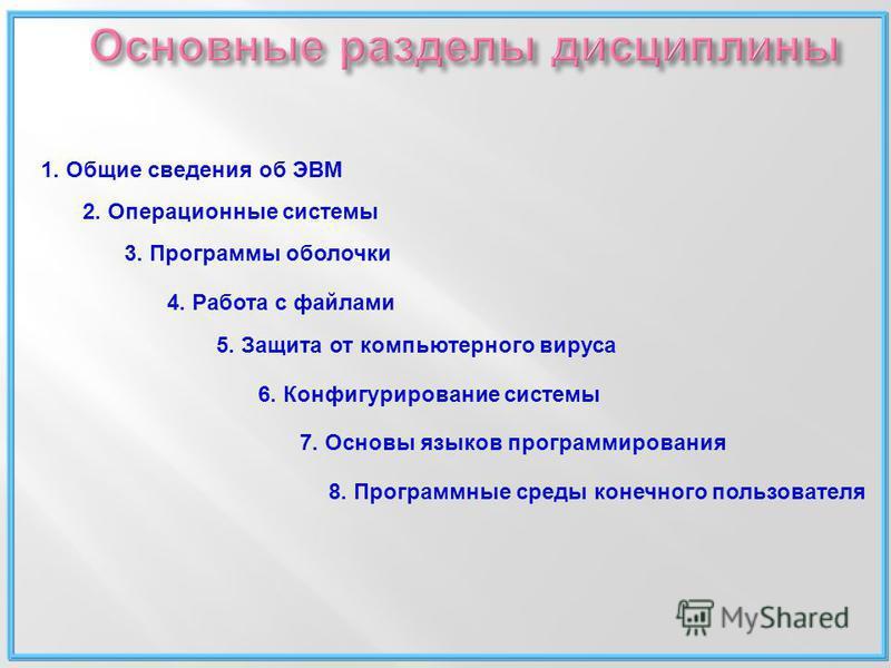 1. Общие сведения об ЭВМ 2. Операционные системы 3. Программы оболочки 4. Работа с файлами 5. Защита от компьютерного вируса 6. Конфигурирование системы 7. Основы языков программирования 8. Программные среды конечного пользователя