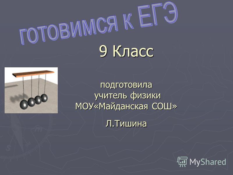 9 Класс подготовила учитель физики МОУ«Майданская СОШ» Л.Тишина
