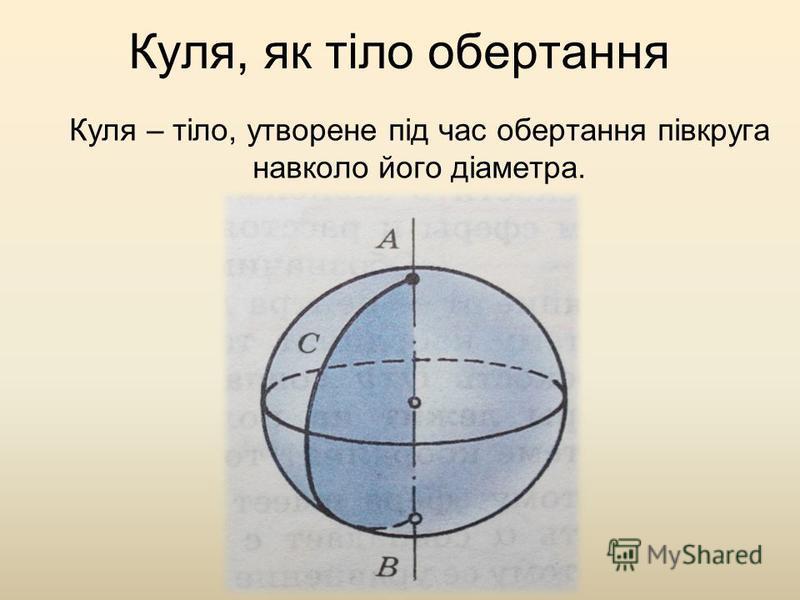 Куля, як тіло обертання Куля – тіло, утворене під час обертання півкруга навколо його діаметра.