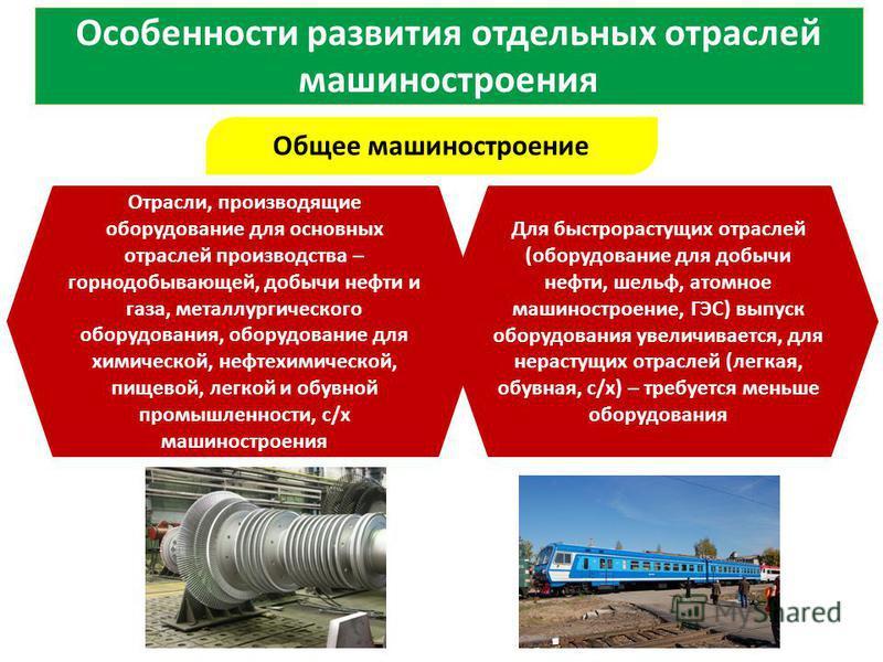 Особенности развития отдельных отраслей машиностроения Общее машиностроение Для быстрорастущих отраслей (оборудование для добычи нефти, шельф, атомное машиностроение, ГЭС) выпуск оборудования увеличивается, для не растущих отраслей (легкая, обувная,