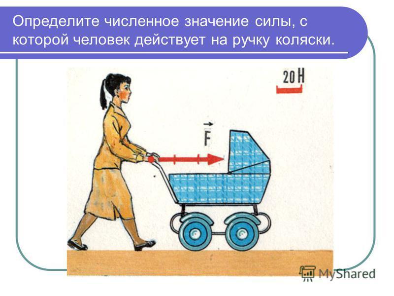 Определите численное значение силы, с которой человек действует на ручку коляски.