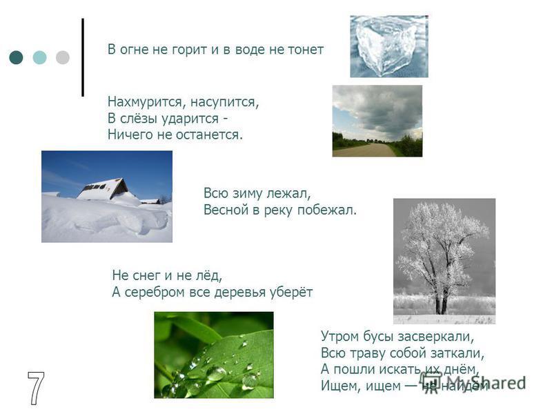 В огне не горит и в воде не тонет Нахмурится, насупится, В слёзы ударится - Ничего не останется. Всю зиму лежал, Весной в реку побежал. Утром бусы засверкали, Всю траву собой заткали, А пошли искать их днём, Ищем, ищем не найдём Не снег и не лёд, А с
