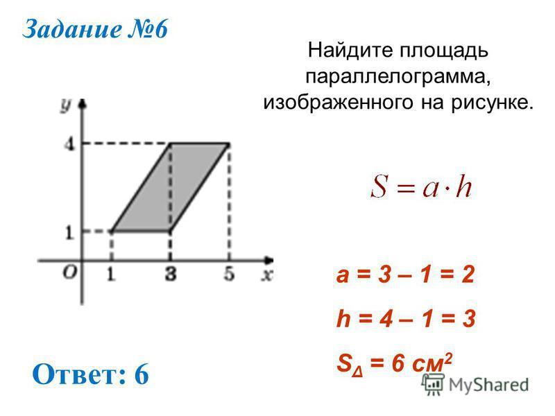 Задание 6 Найдите площадь параллелограмма, изображенного на рисунке. Ответ: 6 a = 3 – 1 = 2 h = 4 – 1 = 3 S Δ = 6 см 2