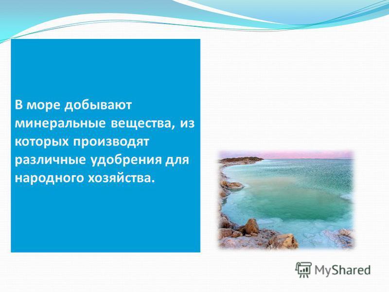 В море добывают минеральные вещества, из которых производят различные удобрения для народного хозяйства.