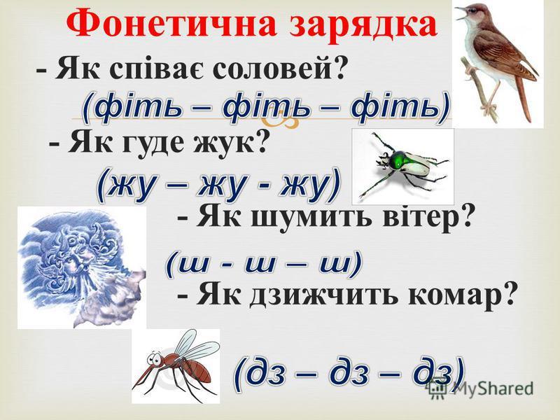 - Як співає соловей ? - Як гуде жук ? - Як шумить вітер ? - Як дзижчить комар ? Фонетична зарядка
