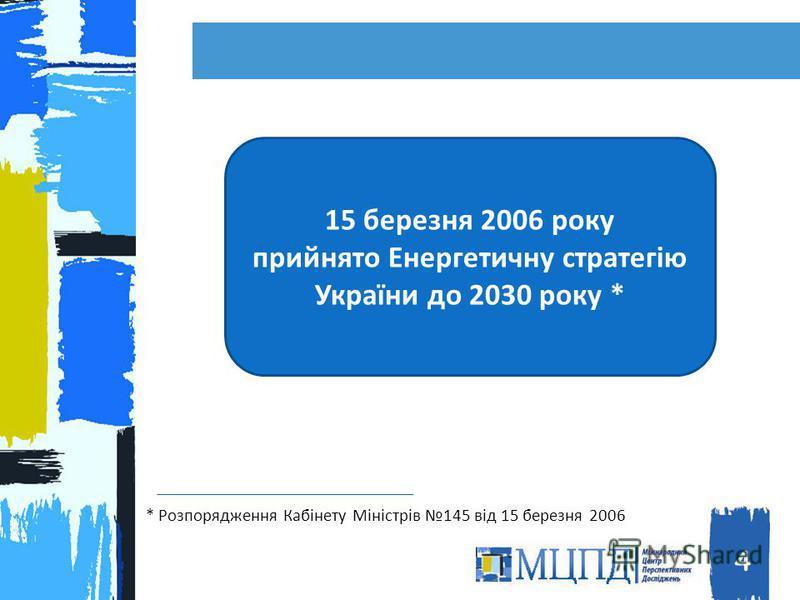 4 15 березня 2006 року прийнято Енергетичну стратегію України до 2030 року * * Розпорядження Кабінету Міністрів 145 від 15 березня 2006