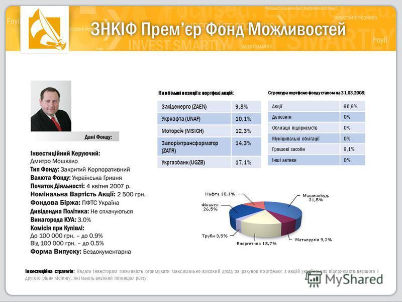 Інвестиційна стратегія: Надати інвесторам можливість отримувати максимально високий дохід за рахунок портфелю: з акцій українських підприємств першого і другого рівня лістингу, які мають високий потенціал росту. Структура портфелю фонду станом на 31.