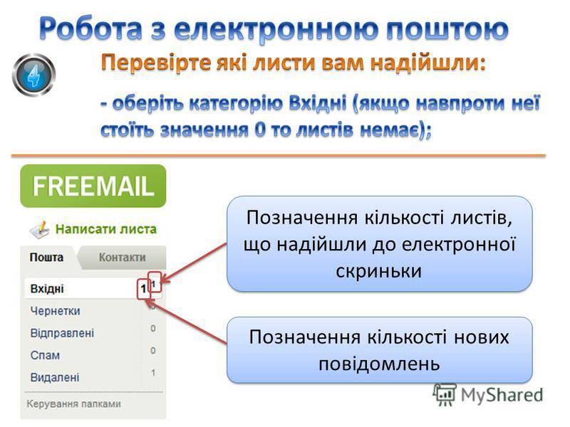 Позначення кількості листів, що надійшли до електронної скриньки Позначення кількості нових повідомлень
