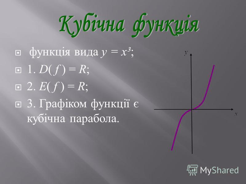функція вида y = x³; 1. D( f ) = R; 2. E( f ) = R ; 3. Графіком функції є кубічна парабола.