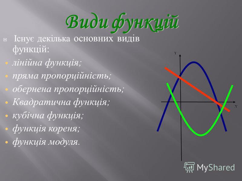 Існує декілька основних видів функцій : лінійна функція ; пряма пропорційність ; обернена пропорційність ; Квадратична функція ; кубічна функція ; функція кореня ; функція модуля.