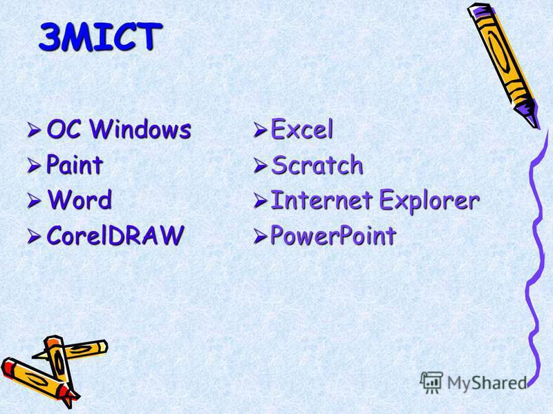 ЗМІСТ ОС Windows ОС Windows Paint Paint Word Word CorelDRAW CorelDRAW Excel Excel Scratch Scratch Internet Explorer Internet Explorer PowerPoint PowerPoint
