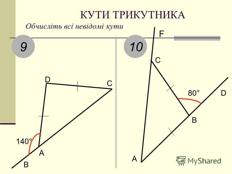КУТИ ТРИКУТНИКА Обчисліть всі невідомі кути 9 140° B AD C 10 A B C D F 80°