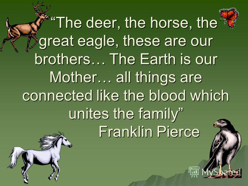 The deer, the horse, the great eagle, these are our brothers… The Earth is our Mother… all things are connected like the blood which unites the family Franklin Pierce The deer, the horse, the great eagle, these are our brothers… The Earth is our Moth