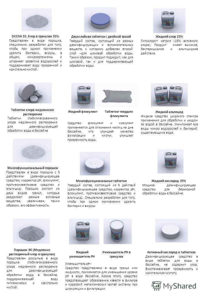 DCCNA 55. Хлор в гранулах 55% Представлен в виде порошка, специально разработан для того, чтобы при одном применении удалить бактерии, вирусы, в общем, микроорганизмы и устраняет развитие водорослей и поддерживает воду прозрачной и кристально чистой.
