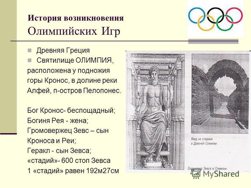 История возникновения Олимпийских Игр Древняя Греция Святилище ОЛИМПИЯ, расположена у подножия горы Кронос, в долине реки Алфей, п-остров Пелопонес. Бог Кронос- беспощадный; Богиня Рея - жена; Громовержец Зевс – сын Кроноса и Реи; Геракл - сын Зевса;