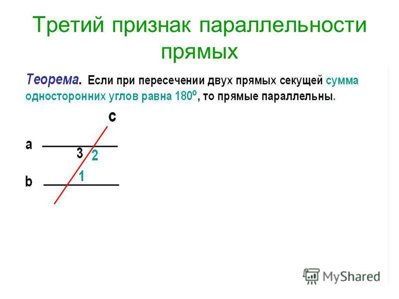 Третий признак параллельности прямых