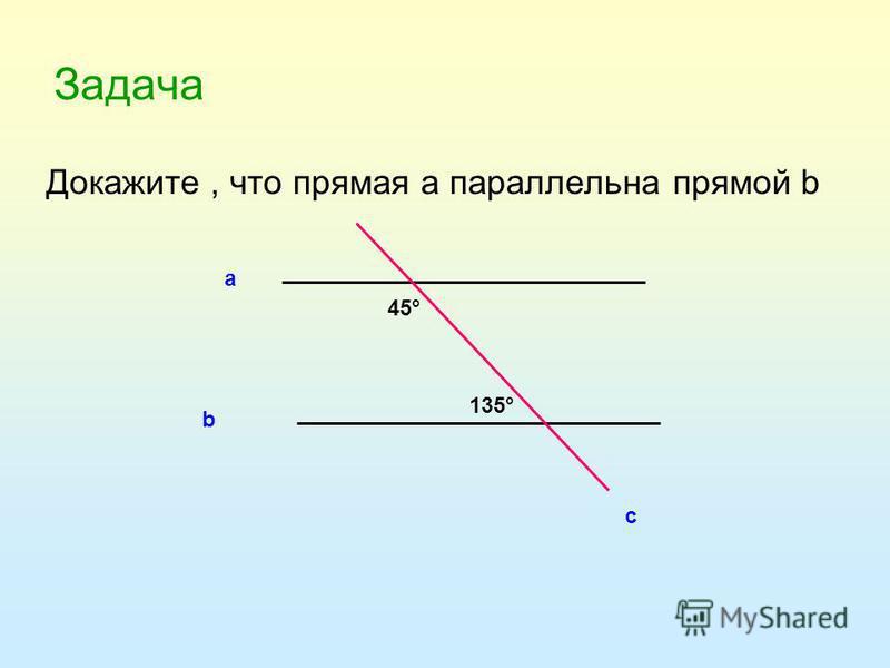 Задача Докажите, что прямая а параллельна прямой b а b c 135° 45°