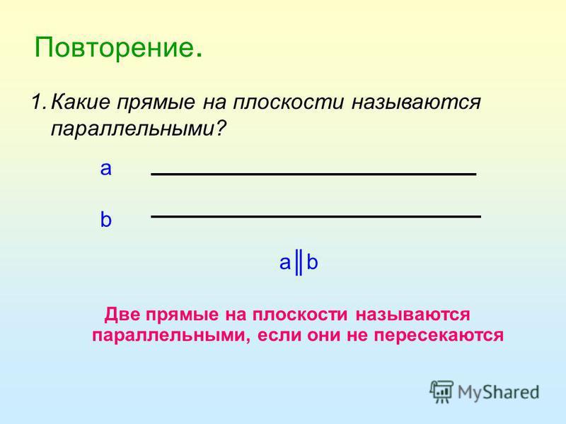 Повторение. Две прямые на плоскости называются параллельными, если они не пересекаются а b abab 1. Какие прямые на плоскости называются параллельными?