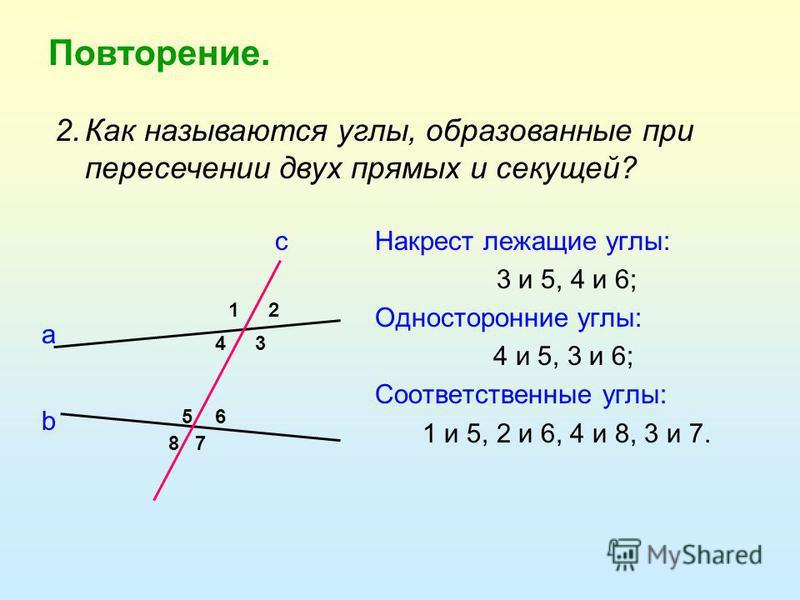 Повторение. Накрест лежащие углы: 3 и 5, 4 и 6; Односторонние углы: 4 и 5, 3 и 6; Соответственные углы: 1 и 5, 2 и 6, 4 и 8, 3 и 7. 12 34 56 78 а b с 2. Как называются углы, образованные при пересечении двух прямых и секущей?