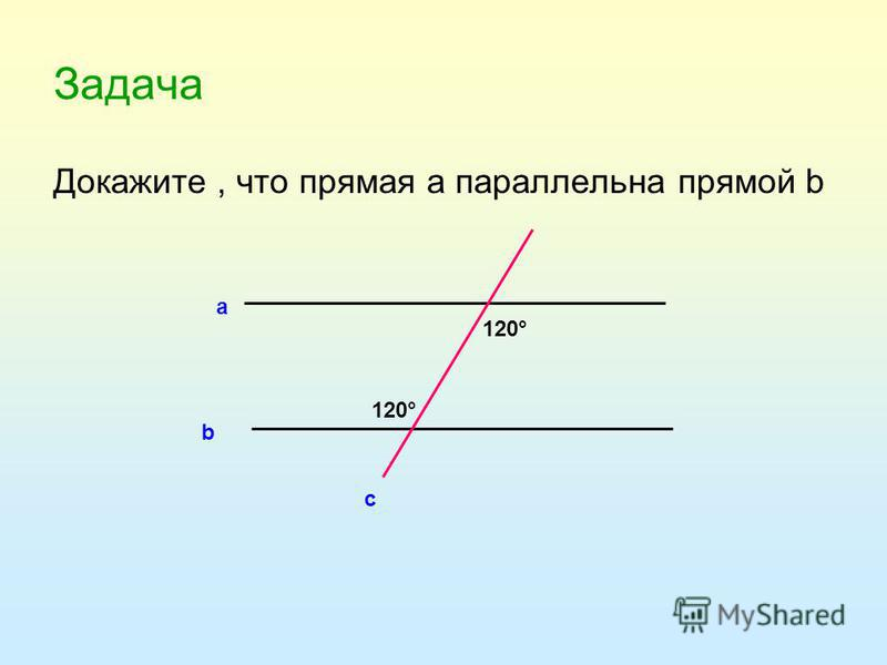 Задача Докажите, что прямая а параллельна прямой b а b c 120°
