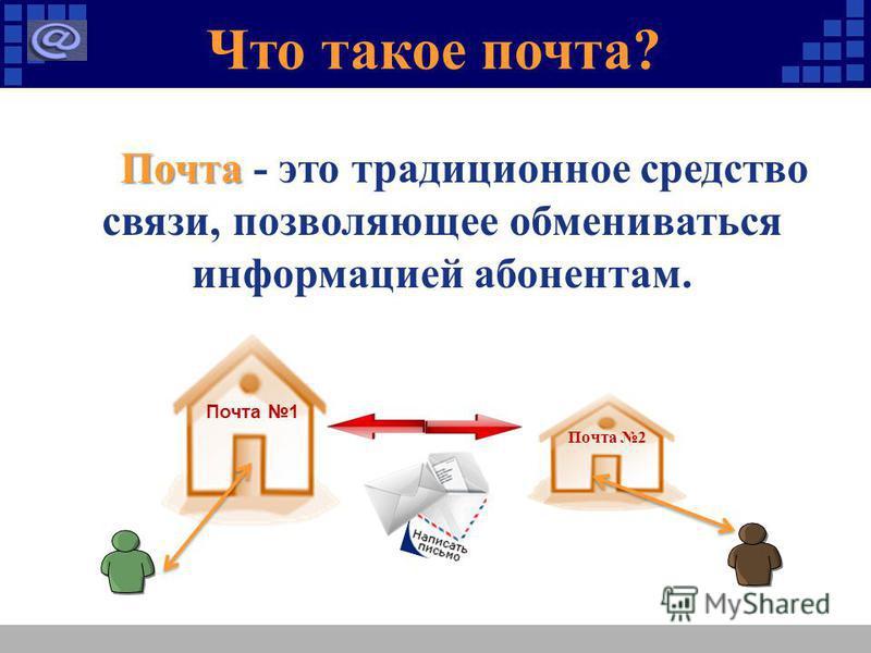 Что такое почта? Почта Почта - это традиционное средство связи, позволяющее обмениваться информацией абонентам. Почта 1 Почта 2