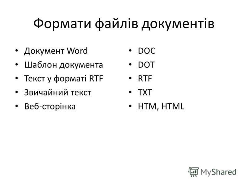 Формати файлів документів Документ Word Шаблон документа Текст у форматі RTF Звичайний текст Веб-сторінка DOC DOT RTF TXT HTM, HTML