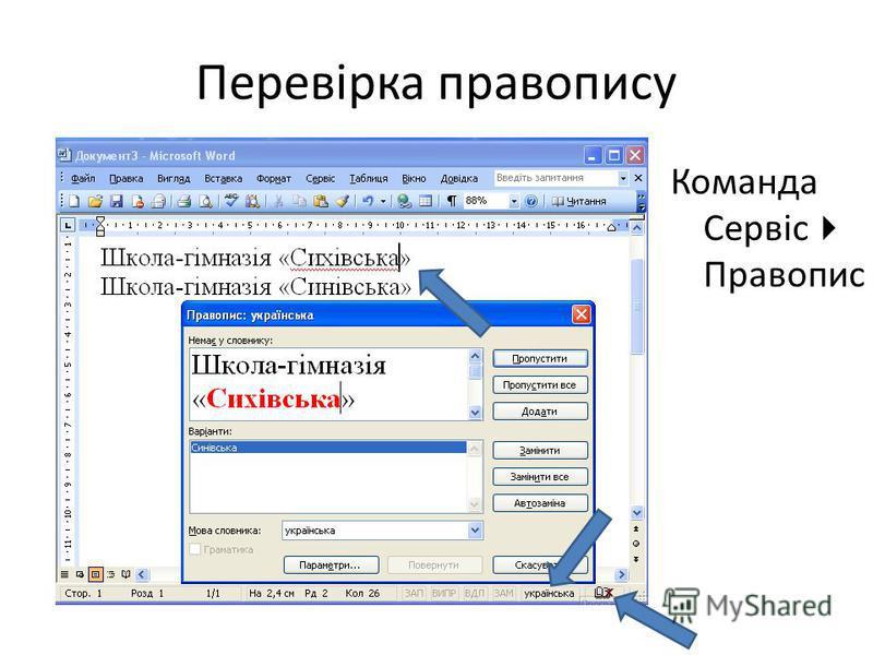 Перевірка правопису Команда Сервіс Правопис