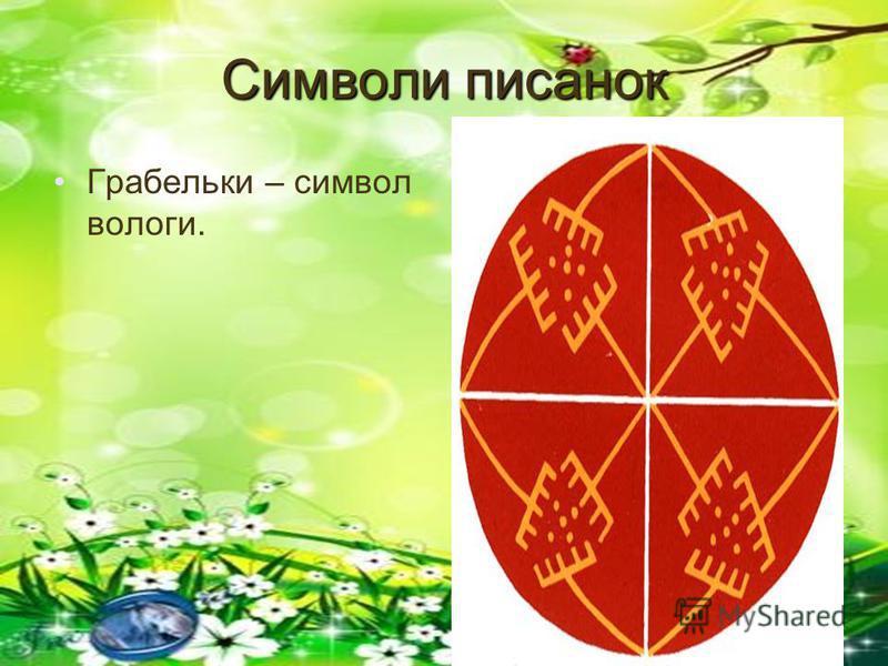 Символи писанок Грабельки – символ вологи.