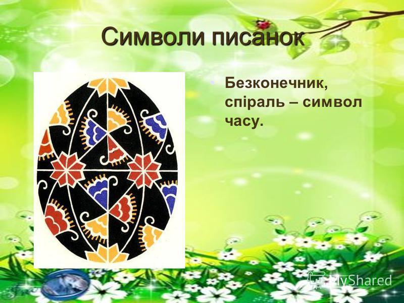 Символи писанок Безконечник, спіраль – символ часу.
