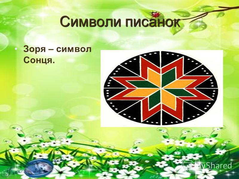 Символи писанок Зоря – символ Сонця.