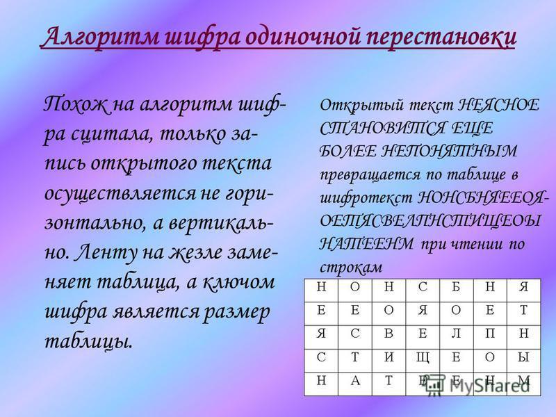 Алгоритм шифра одиночной перестановки Похож на алгоритм шиф- ра сцитала, только запись открытого текста осуществляется не горизонтально, а вертикаль- но. Ленту на жезле заменяет таблица, а ключом шифра является размер таблицы. Открытый текст НЕЯСНОЕ