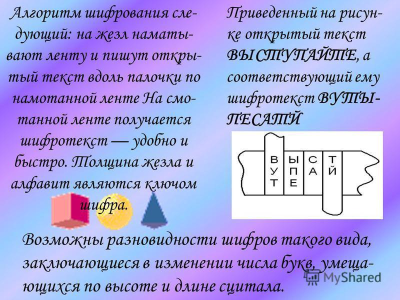 Алгоритм шифрования следующий: на жезл наматывают ленту и пишут открытый текст вдоль палочки по намоданной ленте На смо- данной ленте получается шифротекст удобно и быстро. Толщина жезла и алфавит являются ключом шифра. Приведенный на рисунке открыты