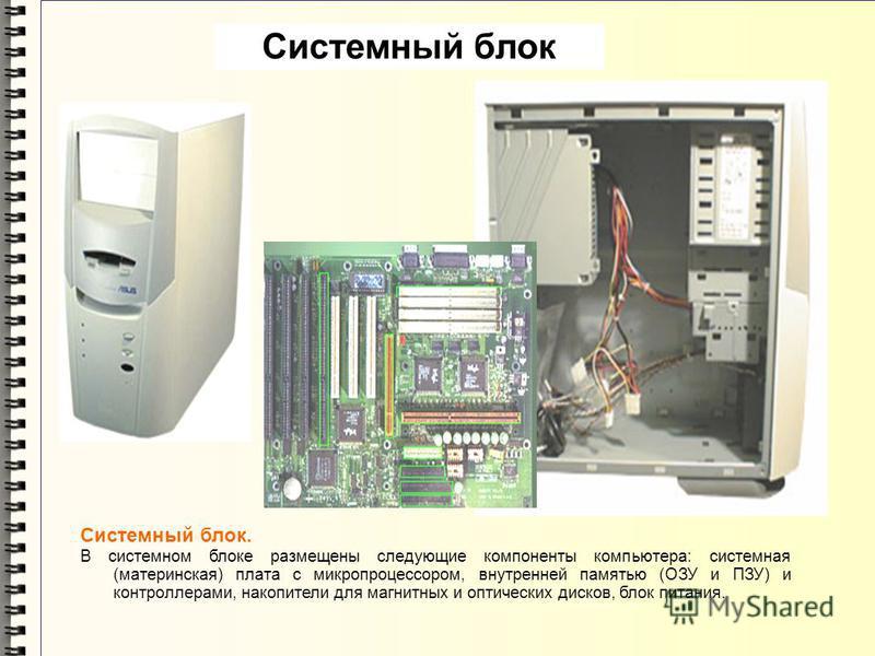 Системный блок. В системном блоке размещены следующие компоненты компьютера: системная (материнская) плата с микропроцессором, внутренней памятью (ОЗУ и ПЗУ) и контроллерами, накопители для магнитных и оптических дисков, блок питания. Системный блок