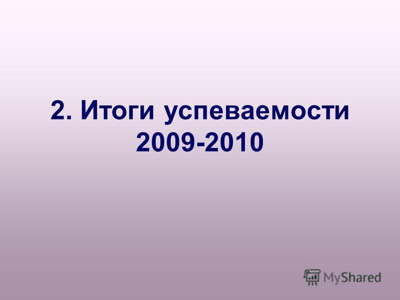 2. Итоги успеваемости 2009-2010