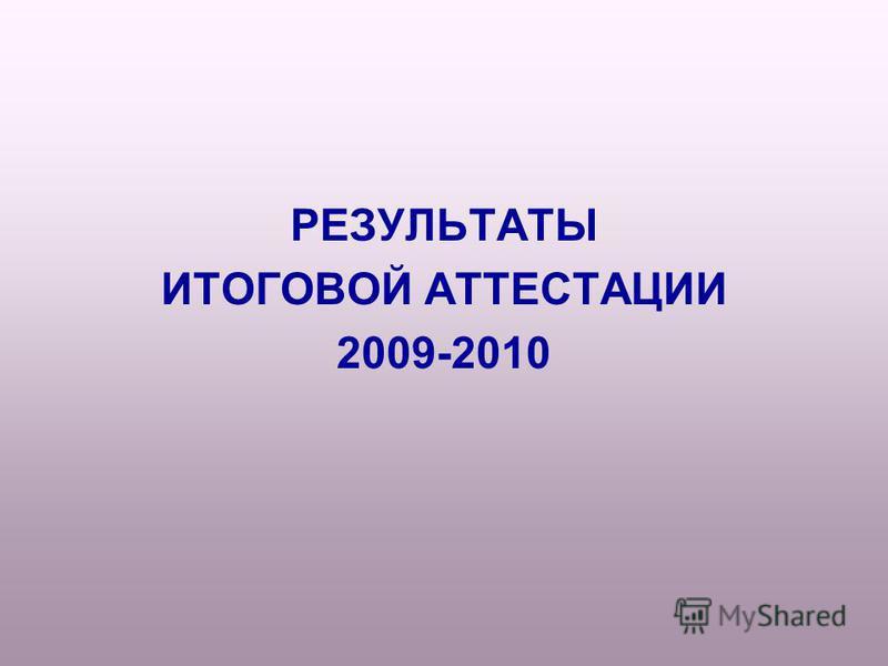 РЕЗУЛЬТАТЫ ИТОГОВОЙ АТТЕСТАЦИИ 2009-2010