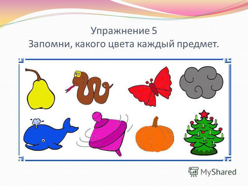 Упражнение 5 Запомни, какого цвета каждый предмет.