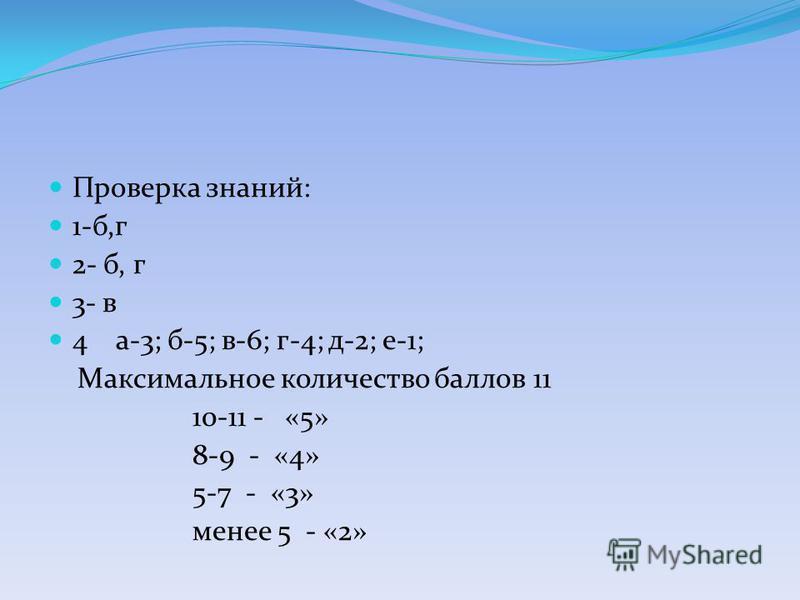 Проверка знаний: 1-б,г 2- б, г 3- в 4 а-3; б-5; в-6; г-4; д-2; е-1; Максимальное количество баллов 11 10-11 - «5» 8-9 - «4» 5-7 - «3» менее 5 - «2»
