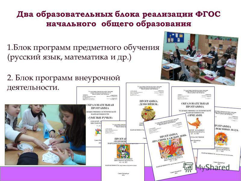 Два образовательных блока реализации ФГОС начального общего образования 1. Блок программ предметного обучения (русский язык, математика и др.) 2. Блок программ внеурочной деятельности.