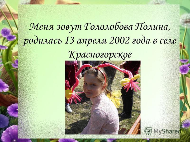 Меня зовут Гололобова Полина, родилась 13 апреля 2002 года в селе Красногорское