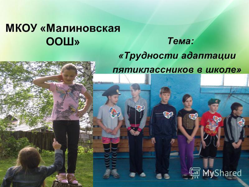 МКОУ «Малиновская ООШ» Тема: «Трудности адаптации пятиклассников в школе»