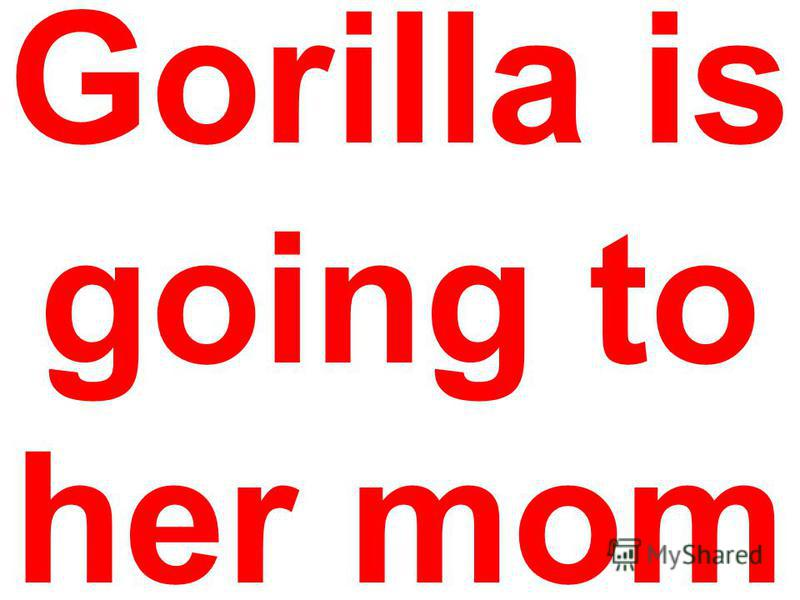 Gorilla is going to her mom