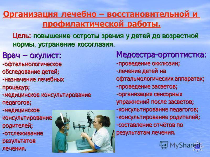 Цель: повышение остроты зрения у детей до возрастной нормы, устранение косоглазия. Врач – окулист: -офтальмологическое обследование детей; -назначение лечебных процедур; -медицинское консультирование педагогов; -медицинское консультирование родителей