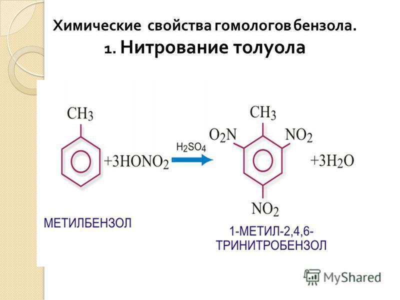Химические свойства гомологов бензола. 1. Нитрование толуола