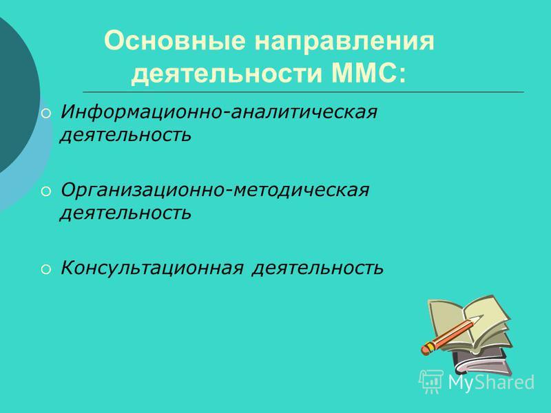Основные направления деятельности ММС: Информационно-аналитическая деятельность Организационно-методическая деятельность Консультационная деятельность