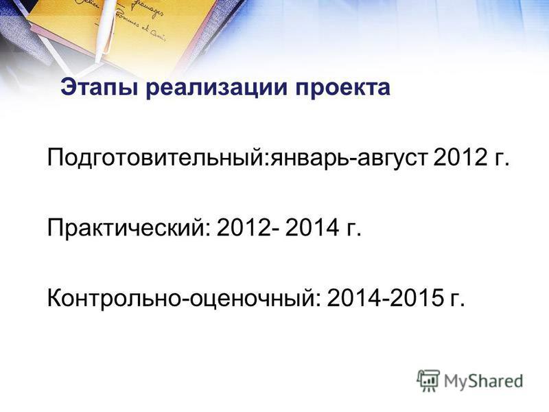 Этапы реализации проекта Подготовительный:январь-август 2012 г. Практический: 2012- 2014 г. Контрольно-оценочный: 2014-2015 г.