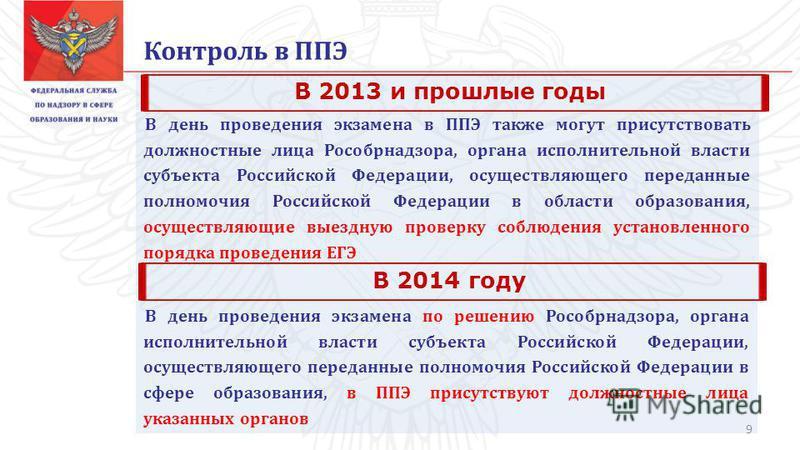 Контроль в ППЭ В день проведения экзамена в ППЭ также могут присутствовать должностные лица Рособрнадзора, органа исполнительной власти субъекта Российской Федерации, осуществляющего переданные полномочия Российской Федерации в области образования, о