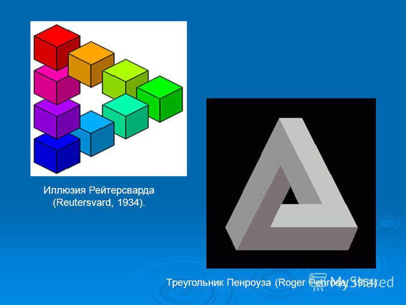 Треугольник Пенроуза (Roger Penrose, 1954). Иллюзия Рейтерсварда (Reutersvard, 1934).