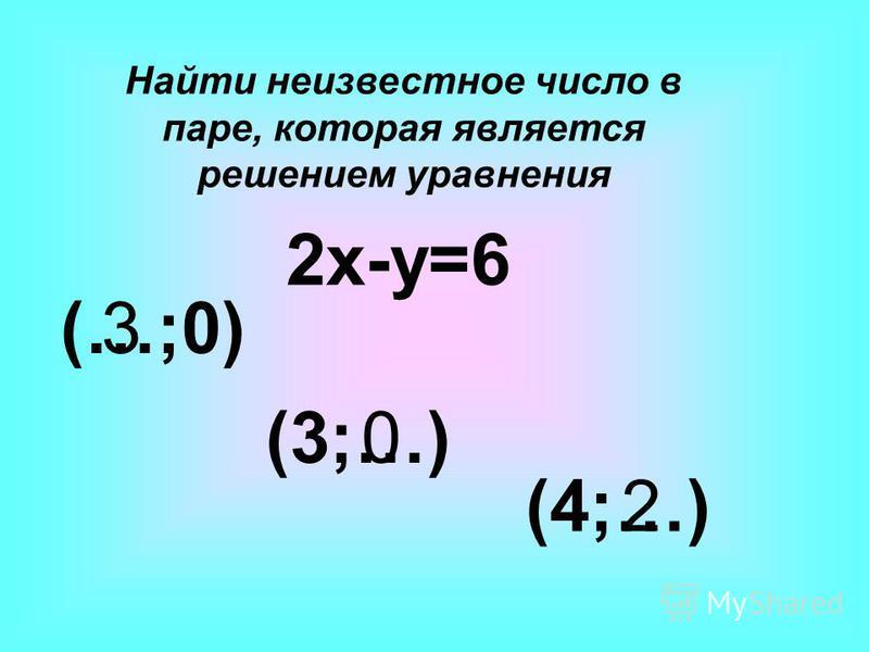 2x-y=6 (…;0) (3;…) (4;…) 3 0 2 Найти неизвестное число в паре, которая является решением уравнения